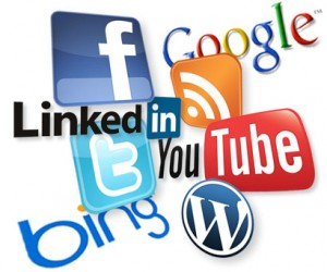 social media logos, twitter, linkedin, facebook, google, bing, wordpress, youtube
