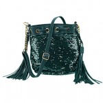 Silk Elements Sequin Tassel Bag Teal