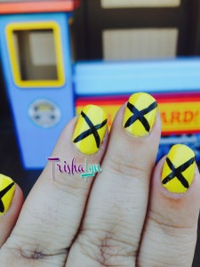 Railroad inspired manicure with Pure Ice Show Stopper and black Sally Hansen I Heart Nail Art Striper