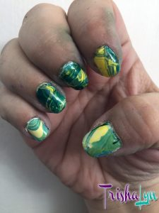 Water Marble Oakland Athletics Manicure